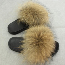 цена LEAYH Multicolor Real Fox Fur Slippers For Women Raccoon Fur Slides Furry Flat Sandals Non-slip Female Casual Fluffy Beach Shoes
