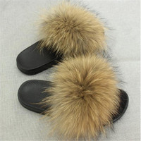 LEAYH Multicolor Real Fox Fur Slippers For Women Raccoon Fur Slides Furry Flat Sandals Non slip Female Casual Fluffy Beach Shoes