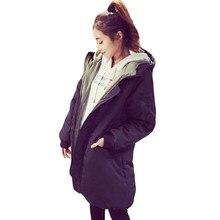 Повседневная Зимняя Мода женская Утолщение Пальто С Капюшоном Средней Длины Стиль Хлопка Ватник Плюс Размер свободные Вниз Пальто SS637