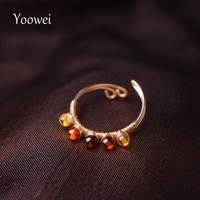 טבעות לנשים ענבר הבלטי Yoowei זעיר עבודת יד טבעת אבן חן ענבר טבעי אמיתי מדהים אופנתי תכשיטי מעדן אנל קטן