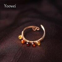Yoowei Baltic Amber Rings for Women Stunning Genuine Natural Amber Gemstone Ring Tiny Handmade Jewelry Trendy Dainty Small Anel