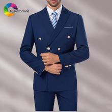 Двубортный темно синий строгий смокинг для жениха на заказ мужской