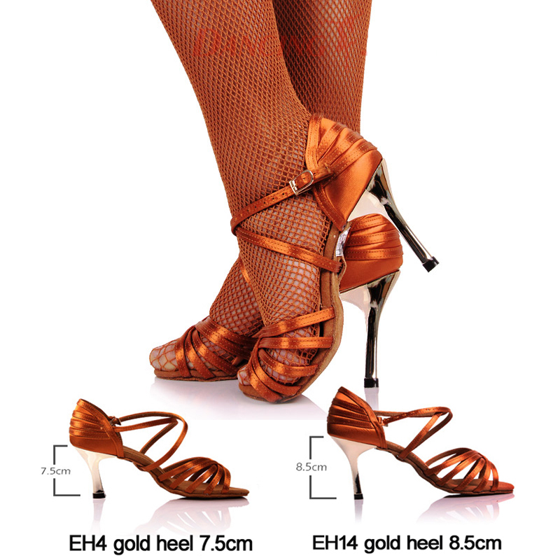 Hot Sale Girls Latin Dancing Shoe Dark Tan Satin Fabric Gold 3