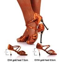 Hot Sale Girls Latin Dancing Shoe Dark Tan Satin Fabric Gold 3 Heels Women Rumba Chacha Samba Paso Doble Jive Dance Shoe 2324