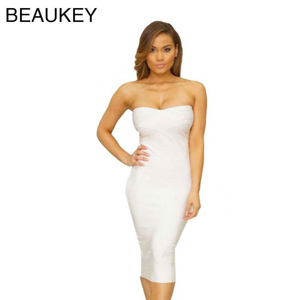 White Knee Length Strapless 2015 Bodycon Bandage Dress-in