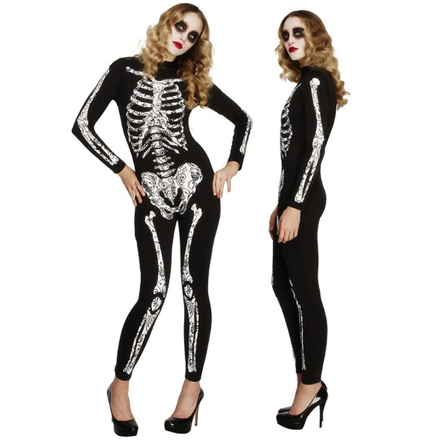 New Halloween Adult Woman Cosplay V&ire Costume Creative Skull Skeleton Jumpsuit Masquerade Party Sexy Skull Black  sc 1 st  AliExpress.com & New Halloween Adult Woman Cosplay Vampire Costume Creative Skull ...