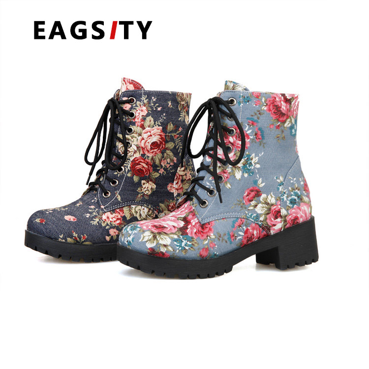ФОТО  2017 spring square heel women casual boots ankle  boots print flower jean cloth upper work safety ladies outdoor walking boots