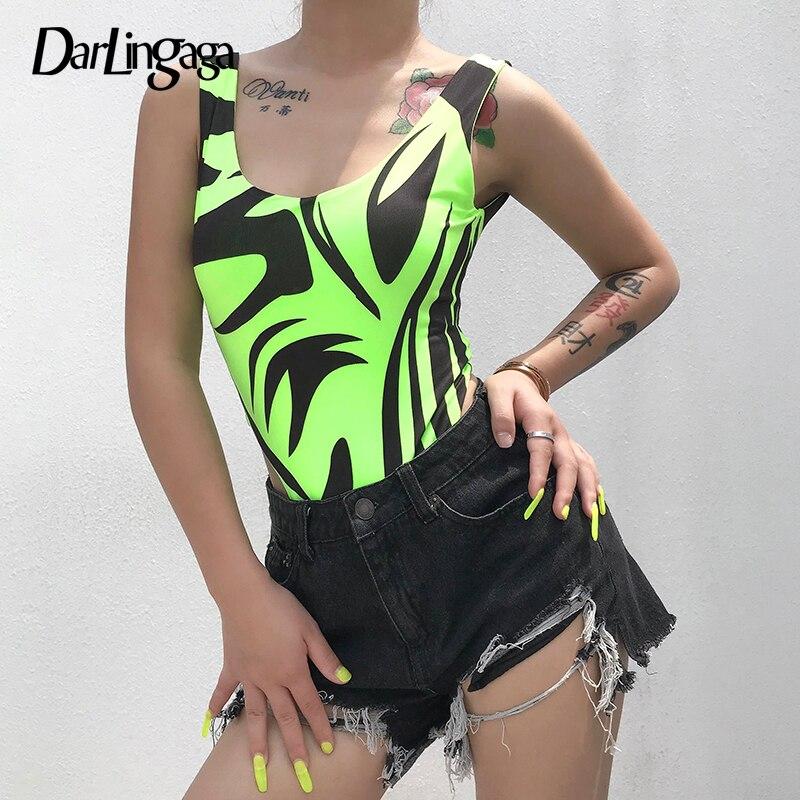 Женский неоновый боди Darlingaga, боди с принтом в виде зеленой зебры, с открытой спиной, на лето