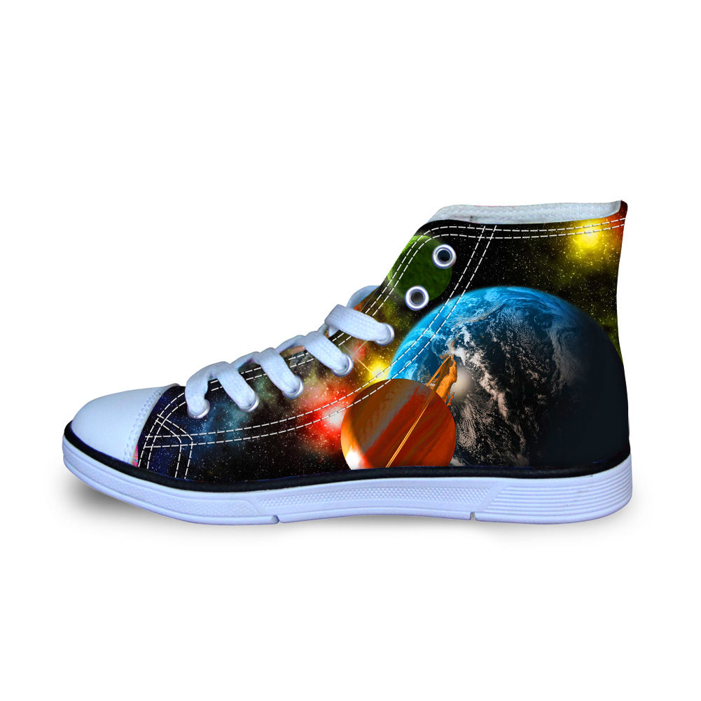 Galaxy 3D Printing Canvas Shoes Casual Men High Top Sneakers Students School Vulcanize Comfort Loafers for Teen Boys Size 29-34