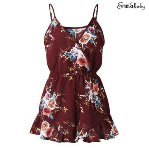 Женский Глубокий V Boho рубашка без рукавов цветочный принт комбинезоны боди Вечеринка пляжная одежда сарафан