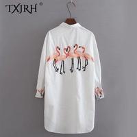 TXJRH Flamingo Bird Pattern Embroidery Shirt Woman Turn Down Collar Long Sleeve Mid Long White Blouse
