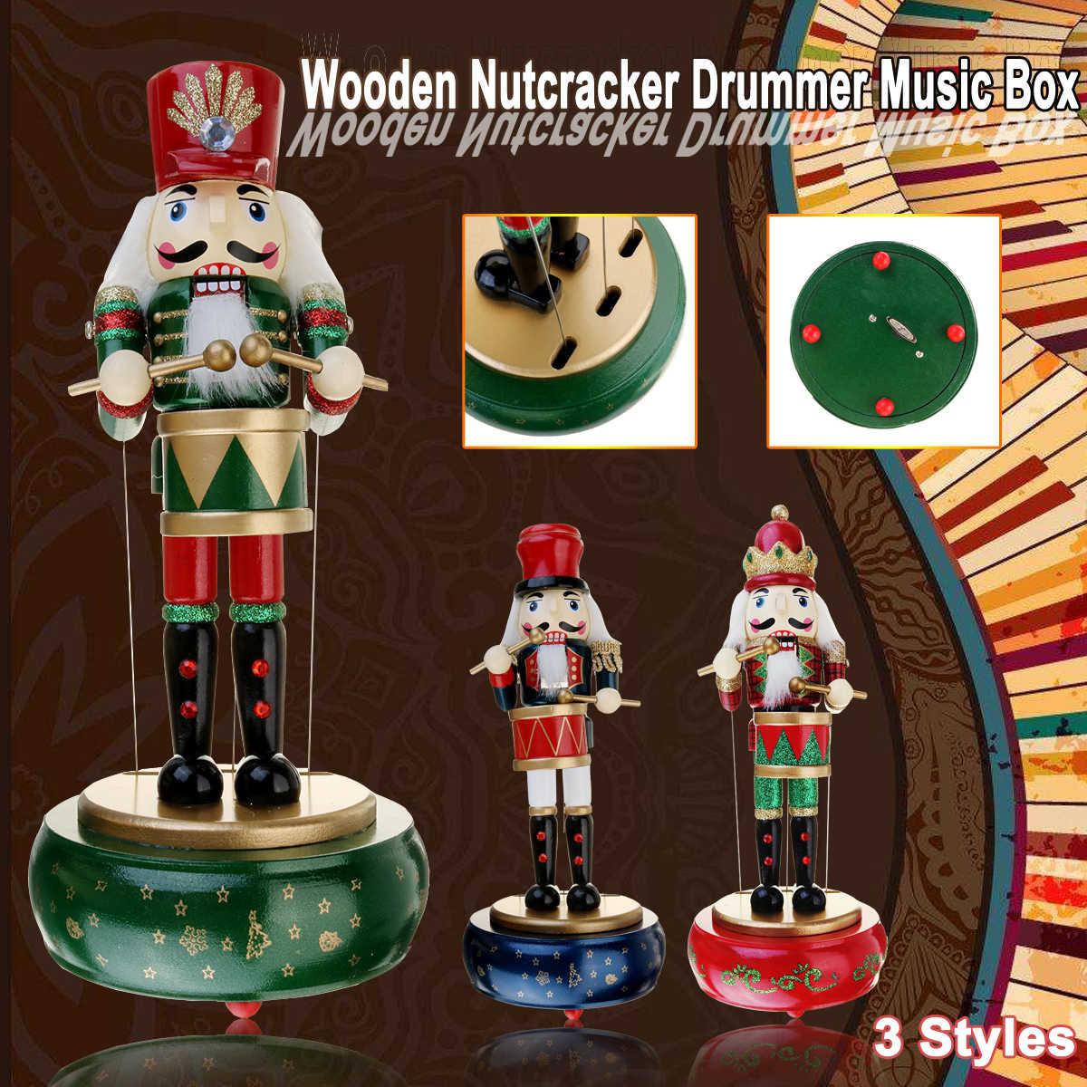 3 Colors Gỗ Nutcracker Drummer Âm Nhạc Box Retro Vòng Nhạc Trường Hợp Quà Sinh Nhật Cổ Điển Phụ Kiện Trang Trí Nhà