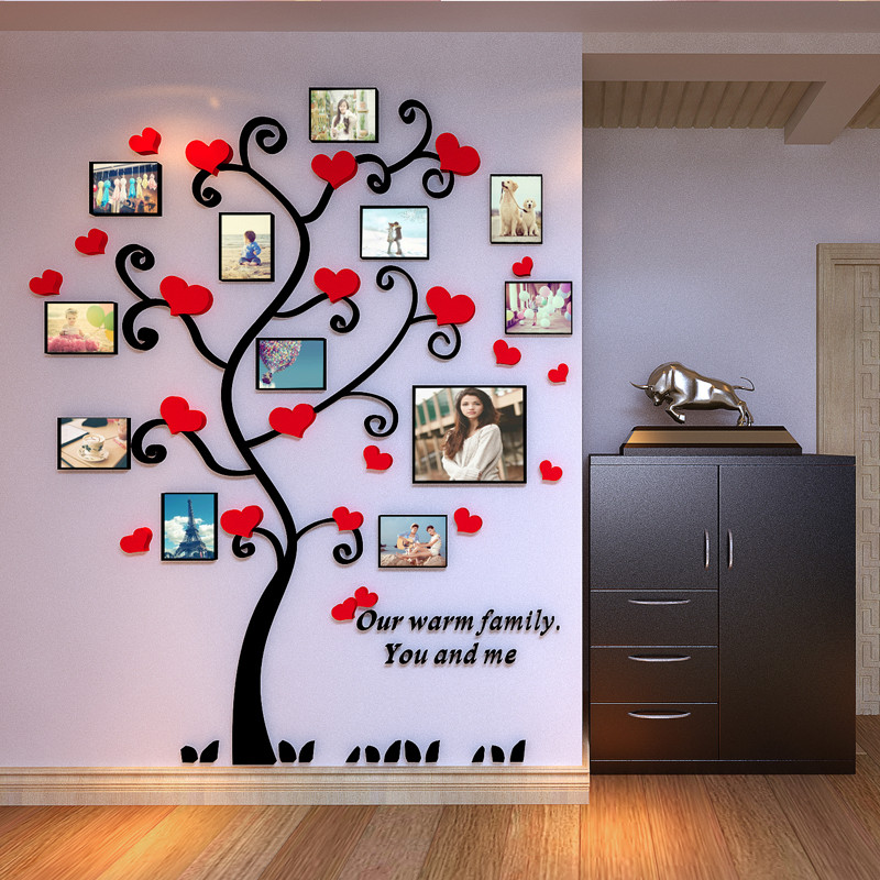 Acrylic 3d frame family tree customized crystal acrylic pink heart ...