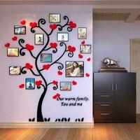 Acrylic 3d Frame Family Tree Customized Crystal Acrylic Pink Heart Family Tree Photo Frame Wall Stickers