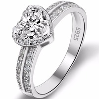 BELLA Fashion 925 Sterling Silver Heart Bridal Ring Clear Cubic Zircon Wedding Ring For Party Jewelry