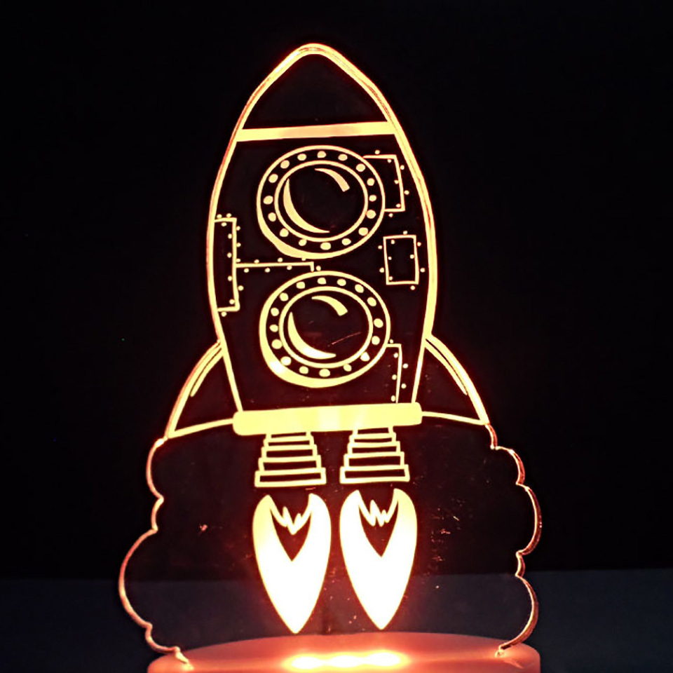 3D Led Rocket Take Off Usb Table Lamp 7 Colors Changing Visual Atmosphere Night Light Home Decor Light Fixture Kid Birthday Gift 3d luminous ice hockey player shape led table lamp 7 colors changing home living room decor light fixture baby sleep night light