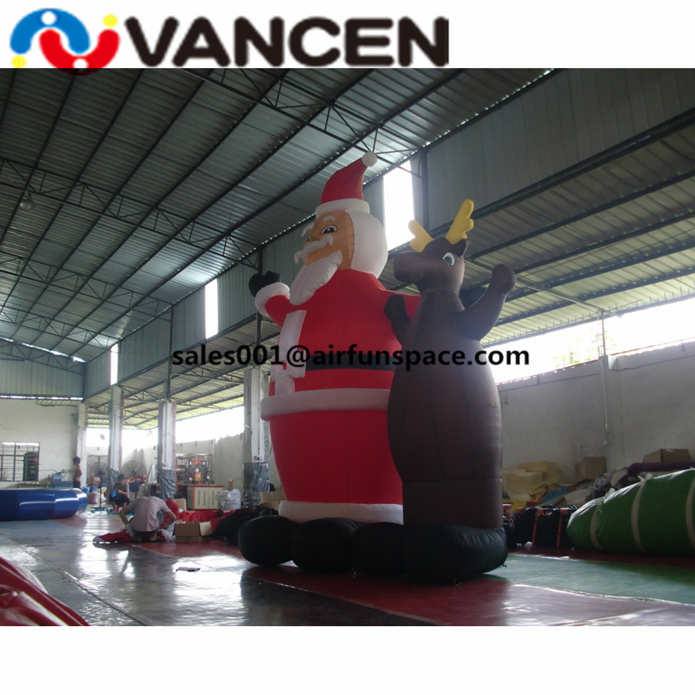 Merry Рождество надувные игрушки 3mH надувной Санта Клаус с оленем открытый украшения надувной Рождественский олень - 2