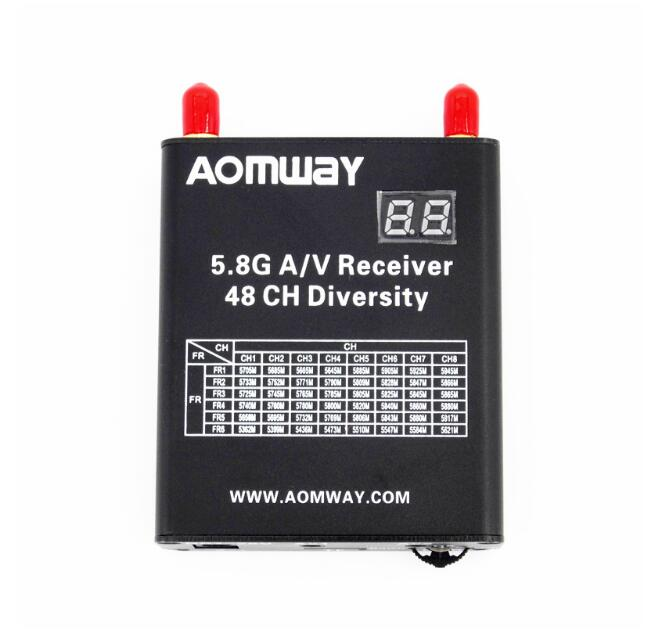 2017 New Aomway 5.8G 48CH AV Audio/Video Double Receiver DVR Recorder w/Cable for  FPV Quadcopter  Drone hot new aomway rx006 dvr 5 8g 48ch diversity raceband a v receiver with built in video recorder