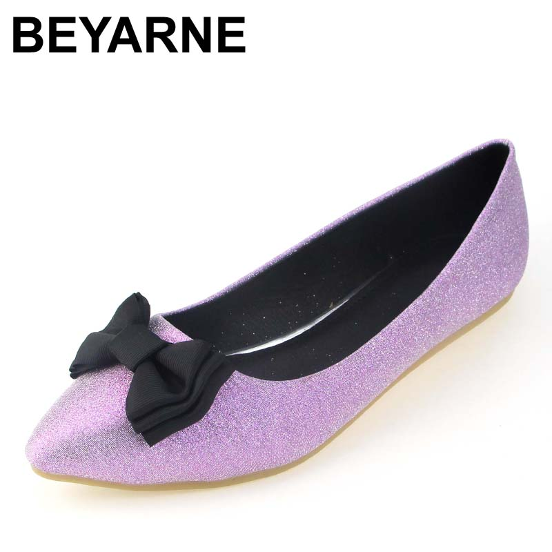 BEYARNE New Women Flock Leather Flats Canvas Fashion Bowtie Pointy Toe Ballerina Ballet Flat Slip On Shoes Soft Office Shoes 2018 new women flats fashion soft bottom diamond pointy toe ballerina ballet flat slip on women shoes b201