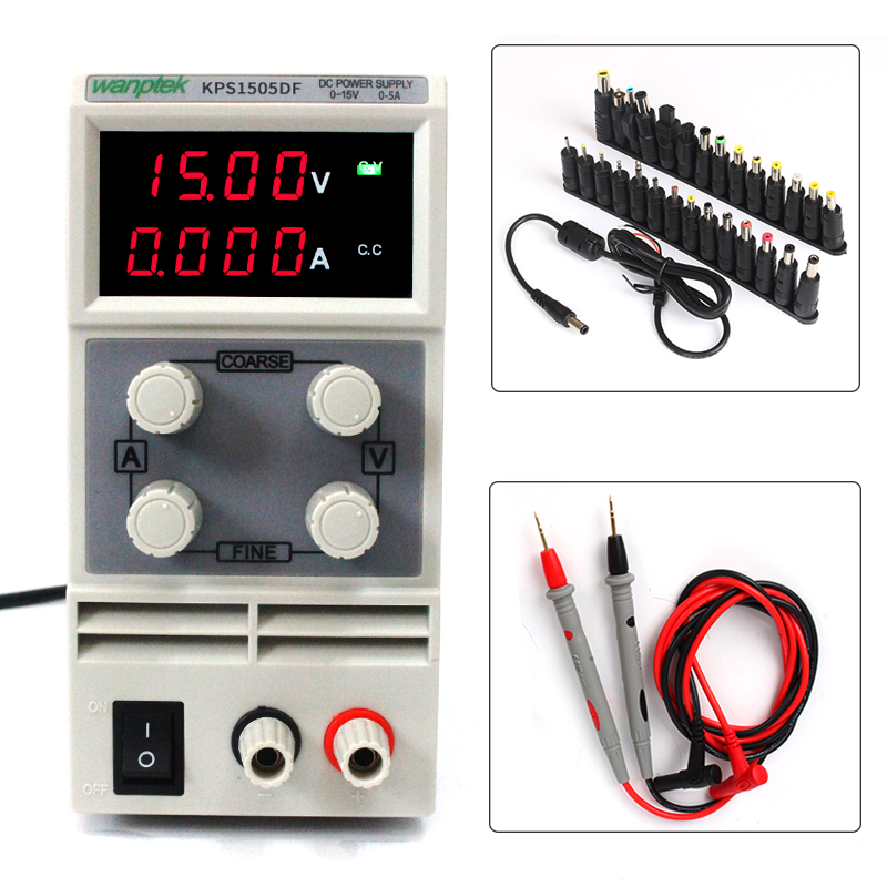 DC Power Supply 150V5A,Small Size Light Weight,Digital LED Display with Tester Probe and 24Bit Terminal Head Connector KPS1505DF