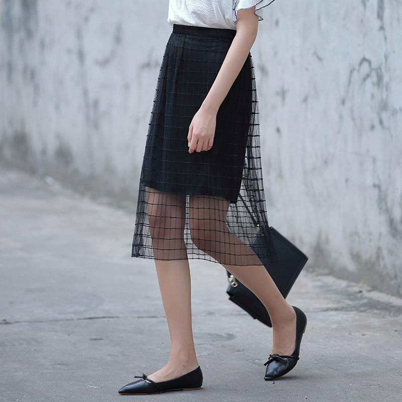 Yichaoyiliang Women Double Layer Half Elastic Tulle Midi Skirt ...