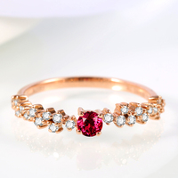 Ruby Wedding Rings For Women 2016 New Arrival 14K Rose Gold Cluster Precious Gemston And Diamond