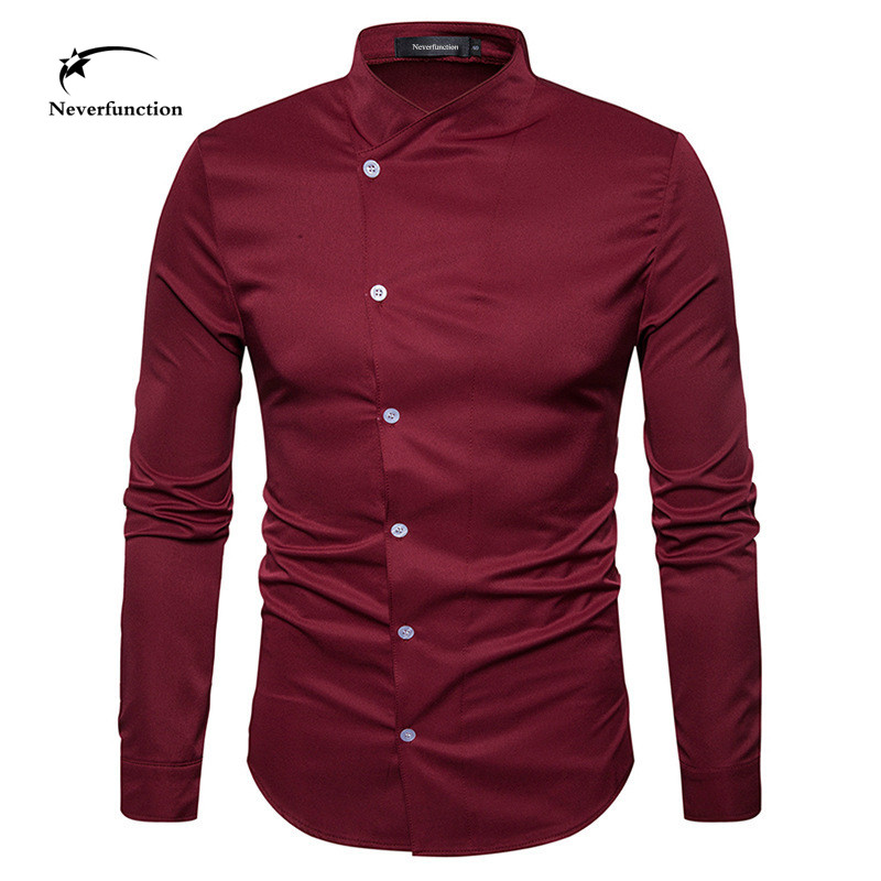 Personality Fashion Design Oblique Button Men Shirts Long