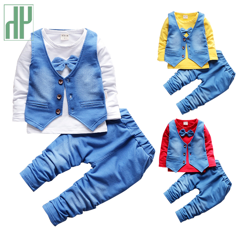 HH Boy clothes gentleman suit fashion baby boy clothes sets kid long sleeves T-shirt+trousers suit children infant clothing baby boy clothes set 2018 spring new gentleman plaid clothing suit for newborn baby bow tie shirt suspender trousers 5 years