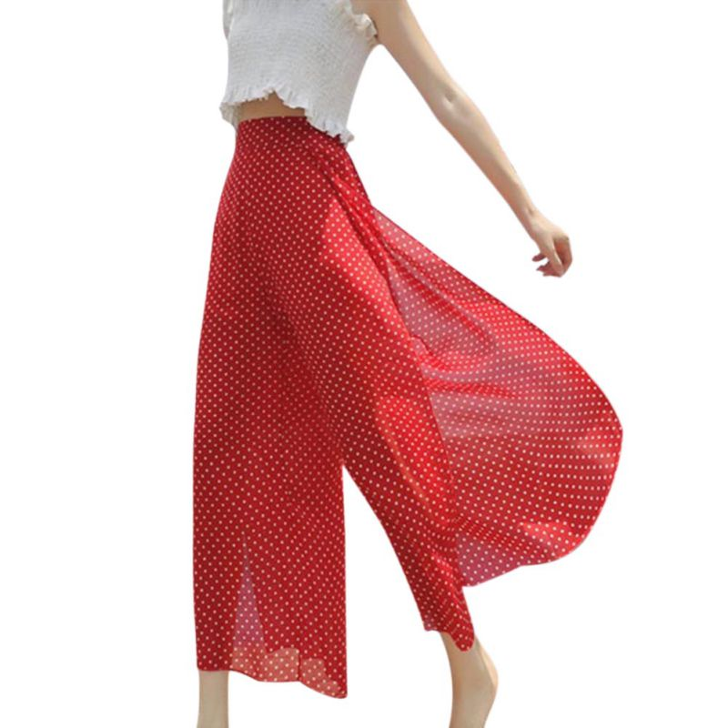 High Split Polka Dot Wide Leg   Pants   Women Summer Beach High Waist Trousers Chic Streetwear Sash Casual   Pants     Capris   Female