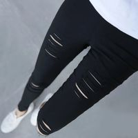 Hirigin 2017, женские длинные штаны, женские штаны с дырками, одноцветные, уличные, стильные, верхняя одежда с высокой талией, большие размеры, S-3XL