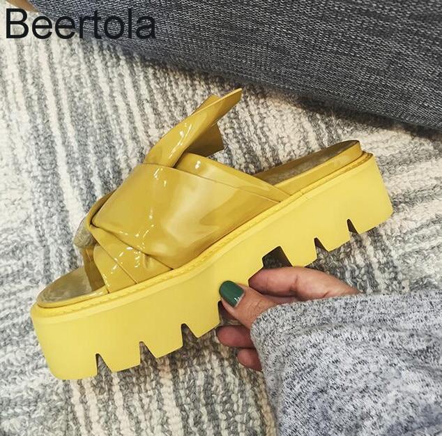 Fashion Women Slides Summer Home Shoes For Women Thick Platform Flip Flops Designer Butterfly-Knot Beach Sandals Soft Slippers