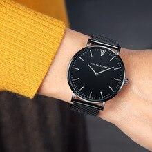 paul valentine Womens Watches Luxury Brand Leather Band Fashion Ladies Dress Quartz Wristwatches Waterproof