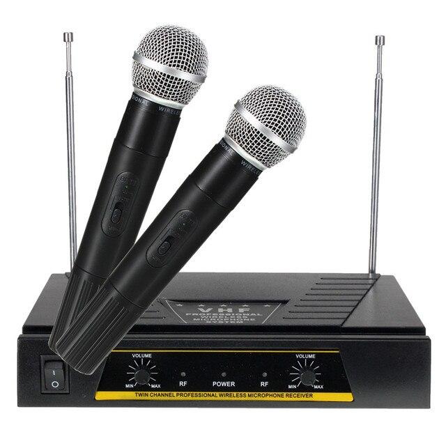 Самые продаваемые высокое качество профессиональный 220 В Pro 2x каналов укв ручной KTV беспроводной микрофон + приемник системы