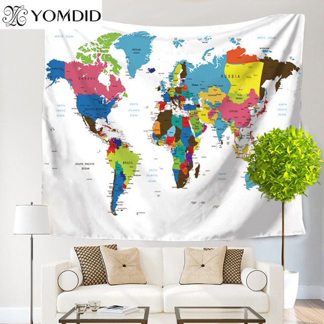 World map polyester tapestry wall hanging indian mandala tapestries world map polyester tapestry wall hanging indian mandala tapestries blanket mat home dorm art wall home gumiabroncs Images