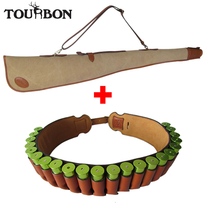 Tourbon Hunting Accessories Canvas Gun Case Shotgun Slip Padded Protection Bag 12Gauge Cartridge Ammo Belt Leather Shooting tourbon hunting shooting shotgun cartridge bag camouflage 12ga holds 100 shells for hunting gun accessories