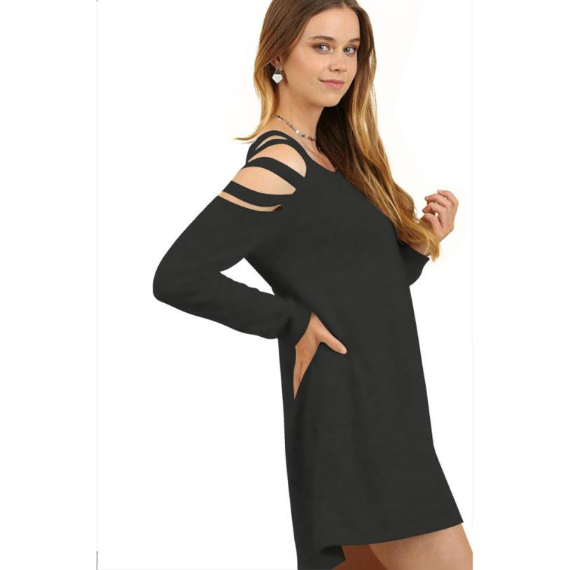Shoulder Hollow out Bodycon Winter Dress Women Office Work Long Sleeve Sexy Black Midi Dress With Pockets Robe Wholesale EY11