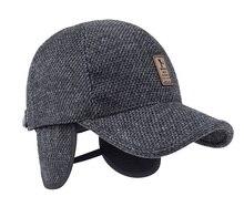 Men Ear Flaps Knitted Woolen Design Cap