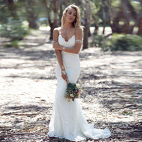 Real Sample Sexy Spaghetti Backless V Neck Beach Wedding Dresses Lace Bridal Gowns Casual Vestido De