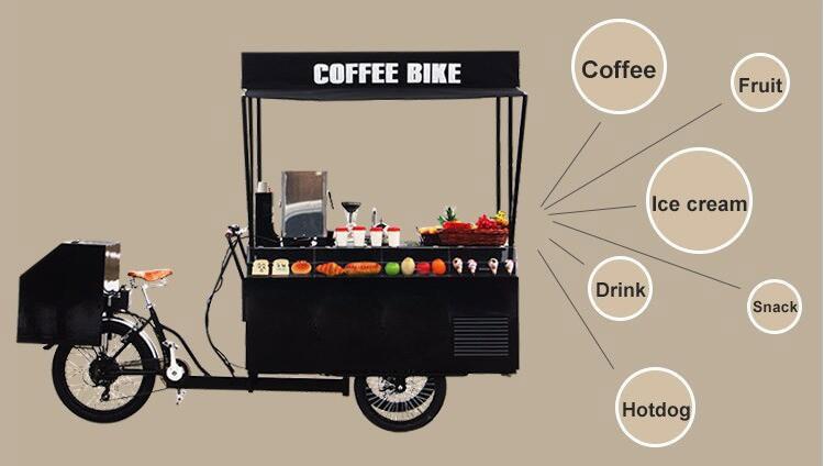 Black High Quality Pedal Bike Food Cart Coffee Bike For Sale In Food