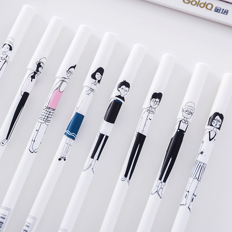 2Pcs New Lovely Simple Creative Hand painted Characters Boys Girls Gel Pen Office School Gift Stationery Pen E0259
