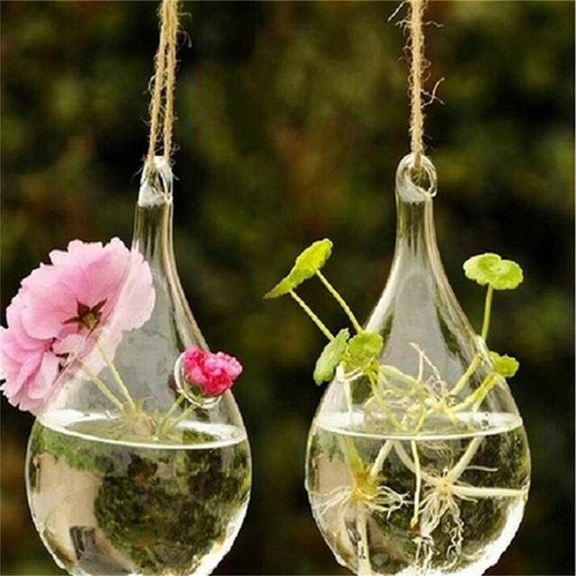 Hanging Vase Bottle Clear Water Drop Glass Terrarium Hydroponic