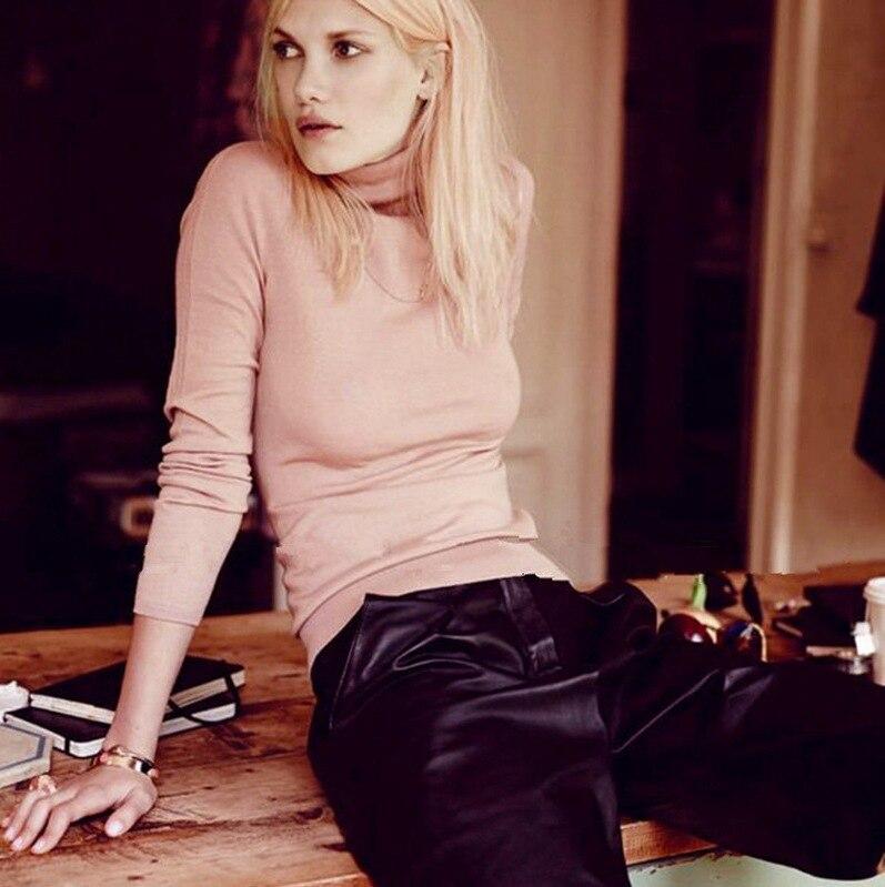 Solide Mode De Élégant Automne Chandails Col Femmes Hiver Vêtements Tricoté Sweatwears Femelle Roulé Mince Dames Nouveau Hz525 qwFvE