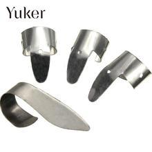 Yuker 4Pcs Guitar Finger Picks Plectrums Stainless Steel Guitar Picks Index Finger Picks