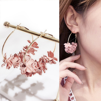 Fabric Flower Hoop Earrings