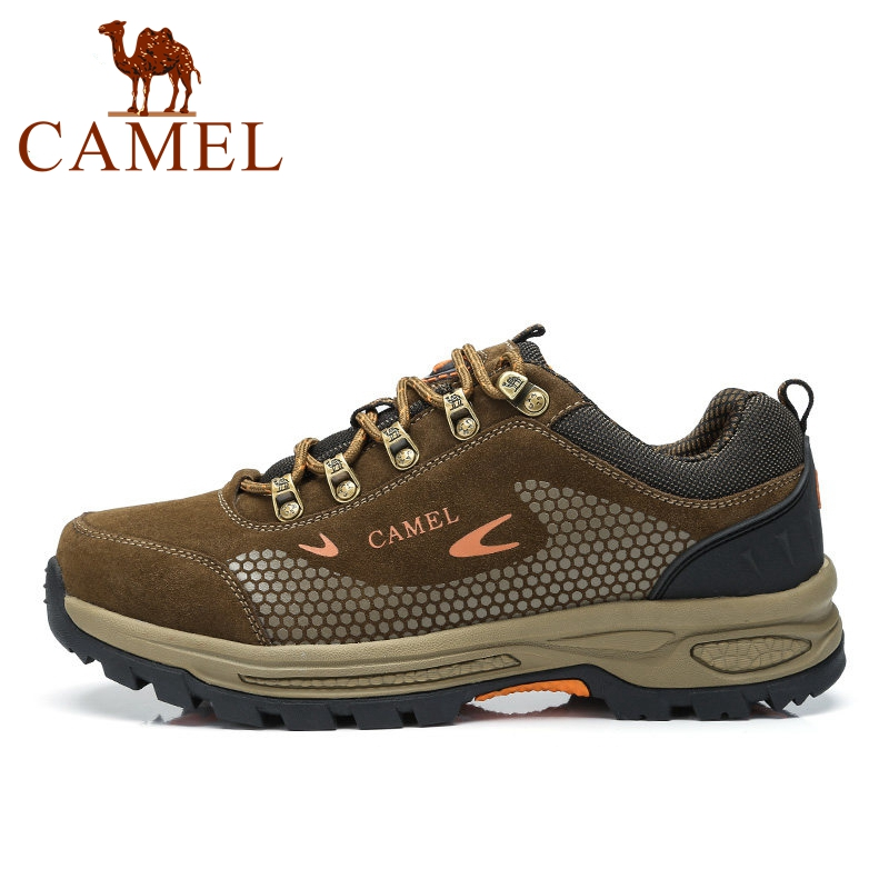 CAMEL Outdoor Leather Mesh Hiking Shoes For Men Antiskid Breathable Shock Absorption Mountain Climbing Trekking Sneaker