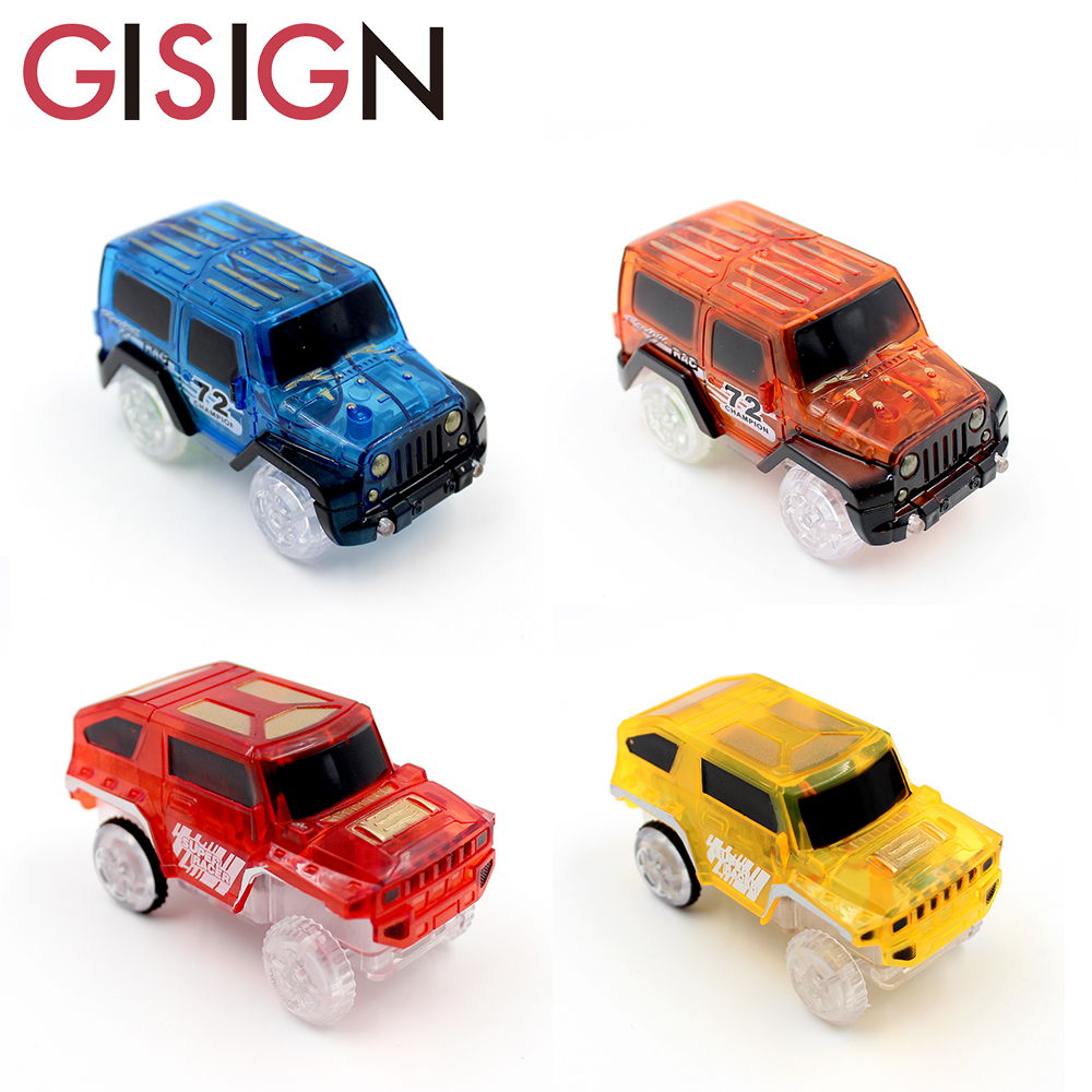 LED Cars for Magic Tracks Electronics Car Toys With Flashing Lights Racing Cars Toys For Children Gift