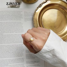 ZJSVER Korean Jewelry 925 Sterling Silver Rings Golden Fashion Simple Color Crystal Inlay Opening Adjustable Women Ring zjsver korean jewelry 925 sterling silver rings gold color retro simple double layer mermaid opening adjustable women ring