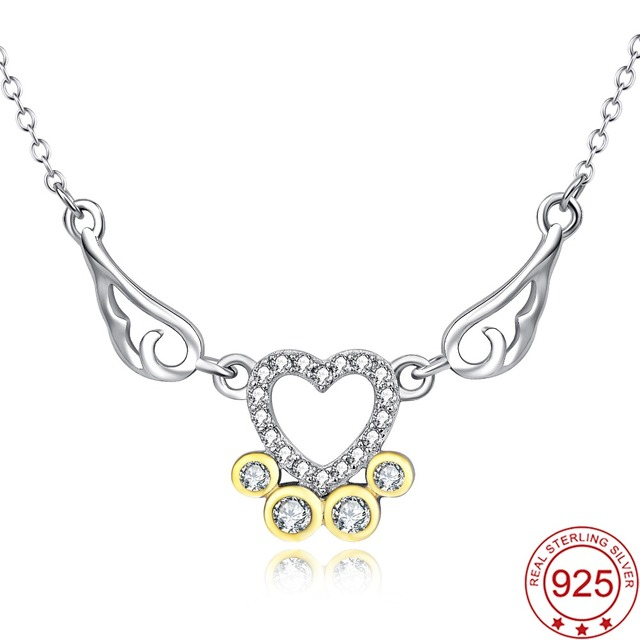 Yafeini 925 sterling silver cubic zirconia love heart dog paw print yafeini 925 sterling silver cubic zirconia love heart dog paw print pendants necklaces claw wing jewelry aloadofball Images