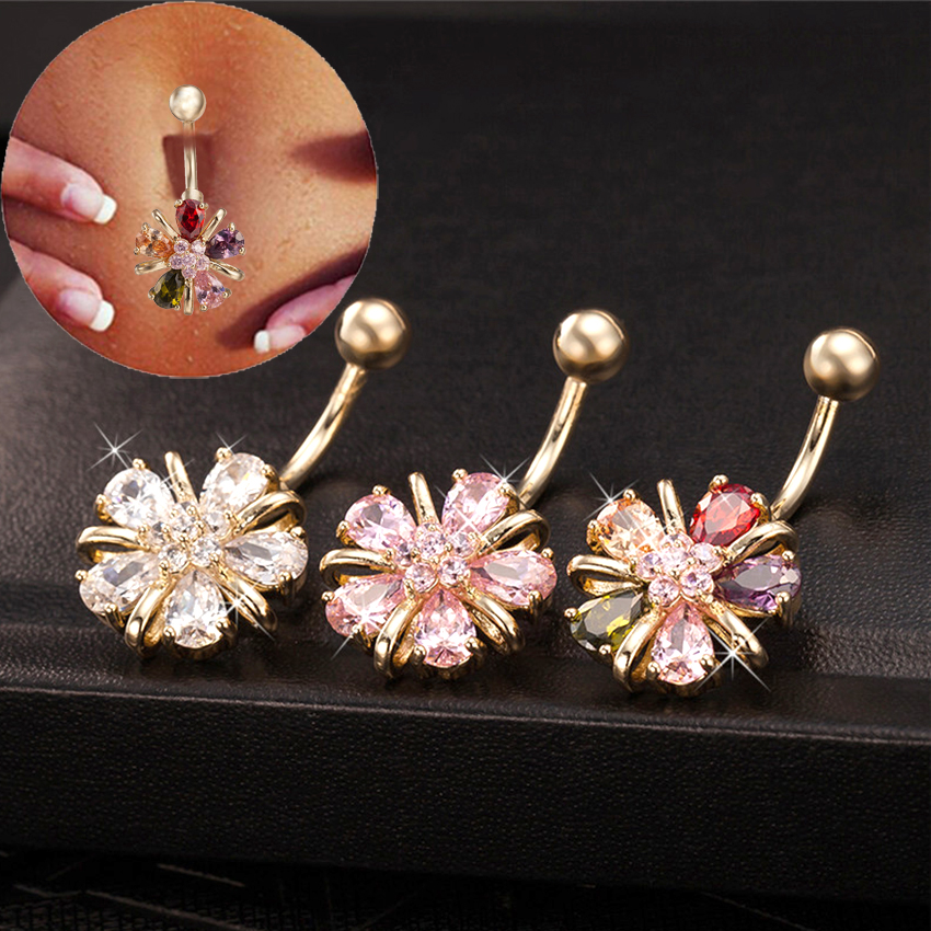2019 Trendy Flower Gold-CZ CZ Navel Percing Pink Clear Color Cubic Zirconia Belly Button Rings Body Jewel Gift Box