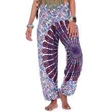 2019 Fashion Women Loose Indie Folk Boho Priting Leggings Floral Pattern Trousers Elastic Waist Soft Thai Harem Pants